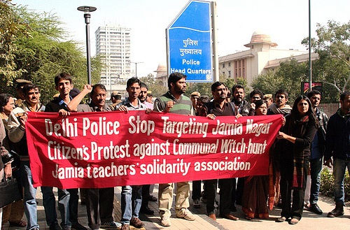 Manisha Sethi (extreme right) leading a protest demonstration