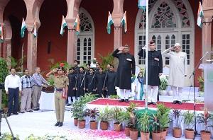 AMU VC taking guard of honour