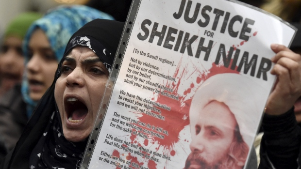 Protesters denounce Saudi Arabia's execution of Shia cleric Sheikh Nimr al-Nimr outside the Saudi Embassy in London .Photo credit CBC