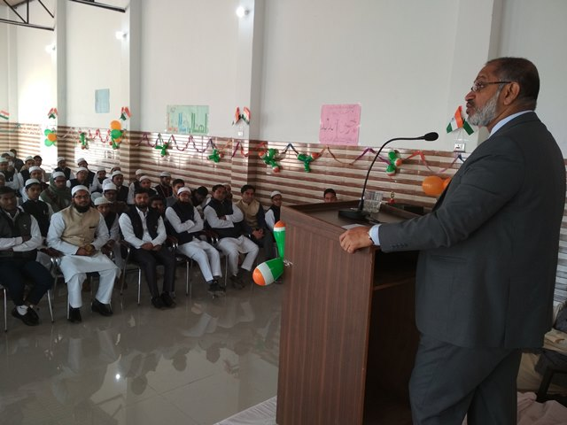 Ameer Ahamed addressing the students